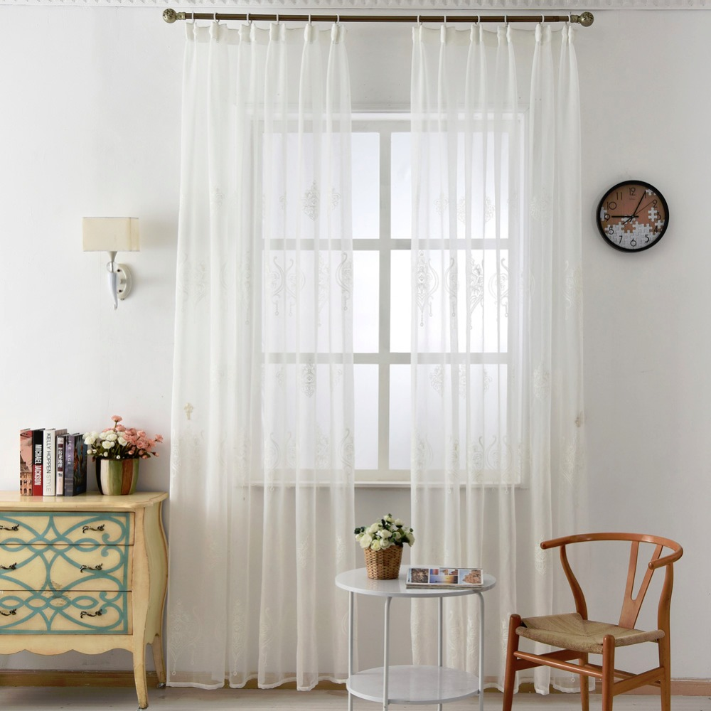 Embroidered tulle linen curtains white European modern living room ...