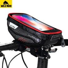 WILD MAN Bicycle Bag Top Tube Handlebar Bag Touch Screen Cell Phone Bag  MTB Road Rainproof Bike Front Frame Hard Shell Bag цена