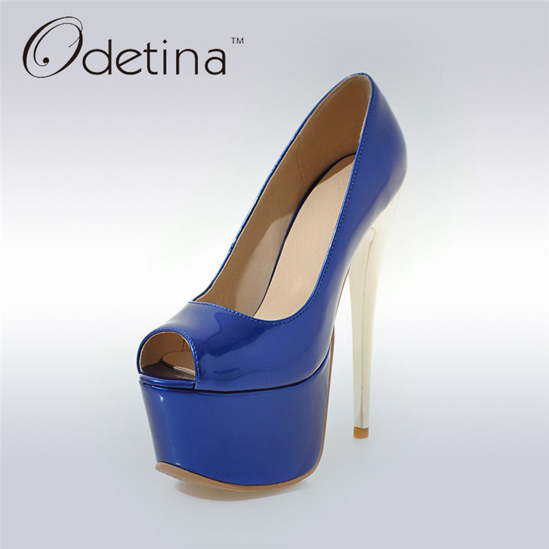 Odetina 2018 Fashion Women Super High Heels Platform Pumps Stilettos Peep Toe Extreme High Heels 16cm Party Shoes Big Size 31-48 lasyarrow brand shoes women pumps 16cm high heels peep toe platform shoes large size 30 48 ladies gladiator party shoes rm317