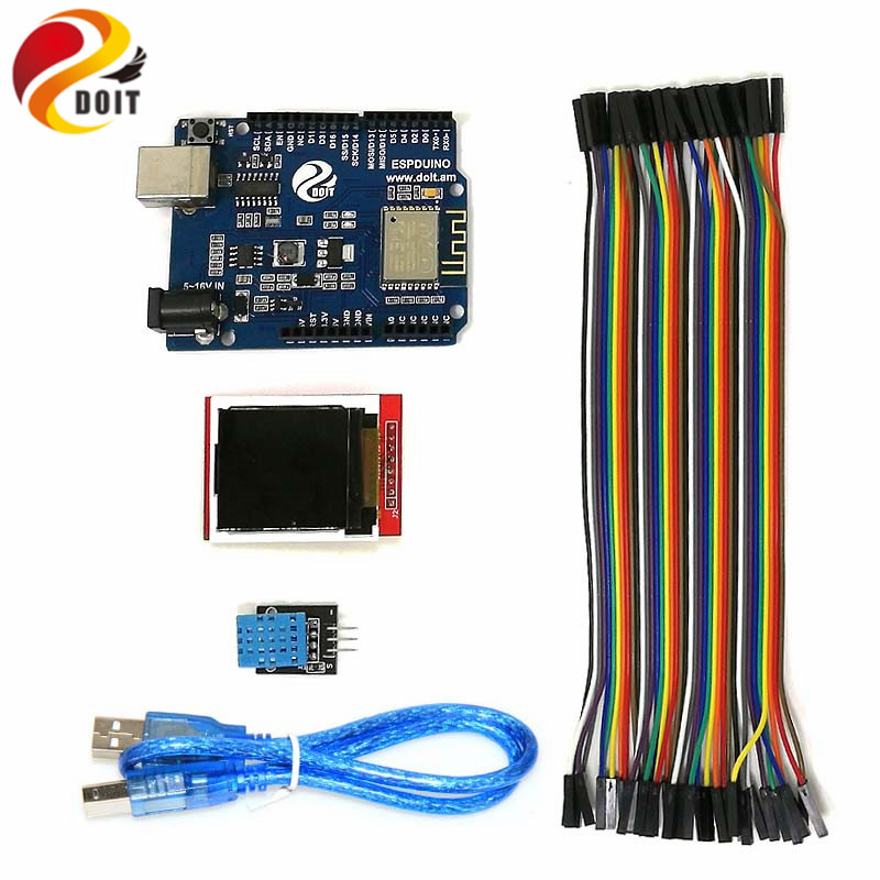 DOIT Arduino WiFi Starter Kit for IoT, ESPduino Development board,1.44'' inch LCD Module, DHT11 Temperature/ Humidity Sensor DIY line hunting sensor module for arduino works with official arduino boards