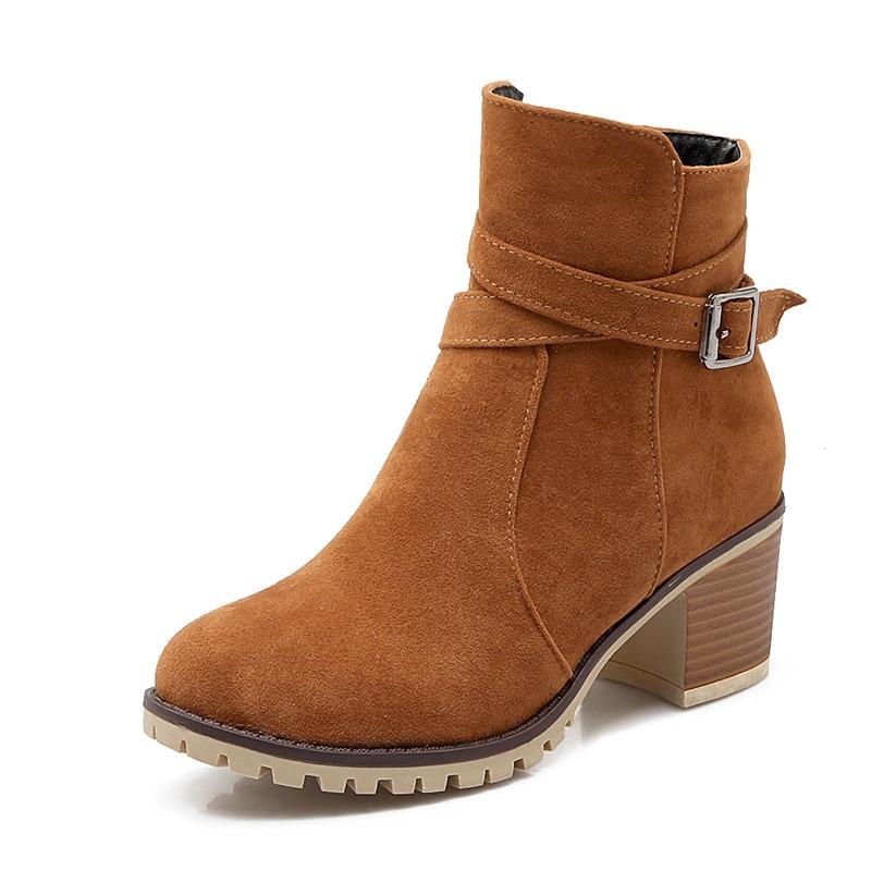 Lucyever Femmes Cheville Bottes Vintage Dames Bout Rond Haute Talons Moto Bottes Casual Boucle En Cuir Chaussures Chaussures Plus La Taille