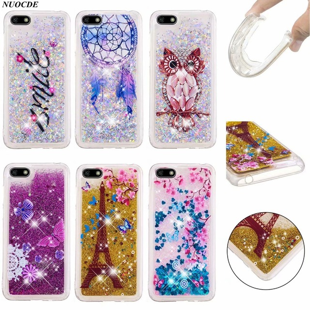 the best attitude 8b17e 555e5 US $3.67 8% OFF|For Huawei Y5 2018 Case Y 5 2018 Cover Quicksand Liquid  Glitter Silicone Soft Phone Cases For Huawei Y5 Prime Y9 2018 P20 lite-in  ...