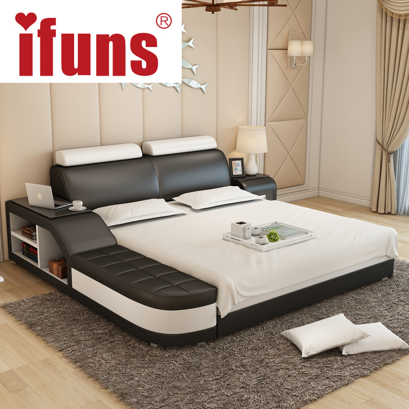 nameifuns luxury bedroom furniture modern design kingqueen size genuine leather bed with tatami storage and double bed frame - Cheap Bed Frames