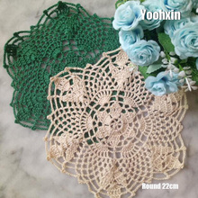 Round Lace cotton table place mat dining pad Cloth crochet dish placemat cup mug tablecloth tea coaster handmade doily kitchen hot lace round cotton table place mat dining pad cloth crochet placemat cup mug tablecloth tea coaster handmade doily kitchen