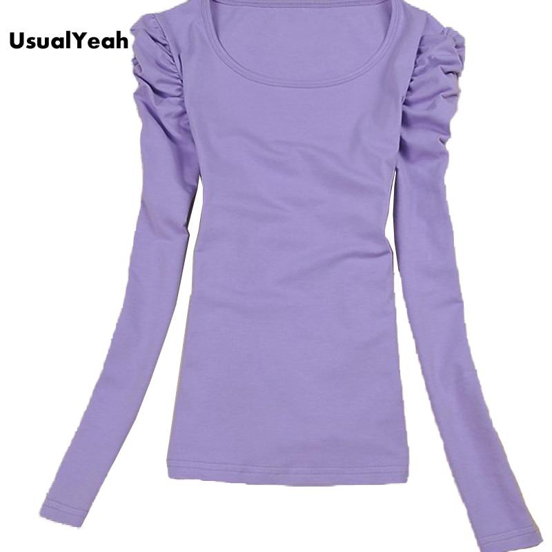 2017 Women Long Sleeve Cotton T shirt Autumn Basic Tops Slim Fit ...