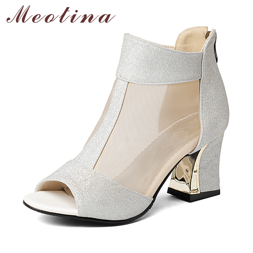 Meotina Chaussures Femmes Pompes Talons hauts À Bout Ouvert Chaussures Chunky Haute talons Zipper Causalité Femmes Talons Chaussures Or Argent Taille 33 9 43