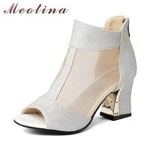 59c1847256dc71 Meotina chaussures femmes escarpins talons hauts bout ouvert chaussures  Chunky talons hauts fermeture à glissière casual