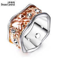 DreamCarnival 1989 Einzigartige Band Ring für Frauen Rose Gold Farbe Wellenförmige Hochzeit Partei Schmuck Bague Femmes Anillos Großhandel WA11258