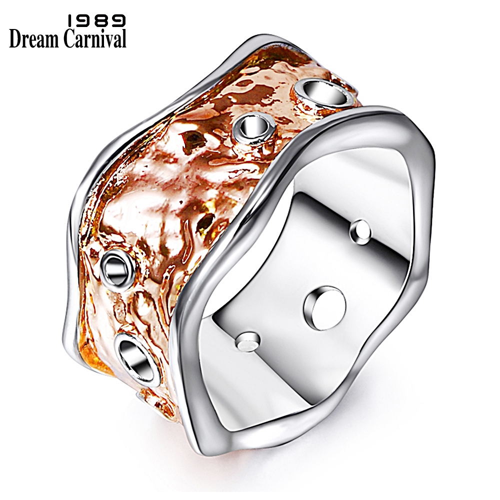 DreamCarnival 1989 Unique Band Ring for Women Rose Gold Farge Bølgete Bryllupsfest Smykker Bague Femmes Anillos Engros WA11258