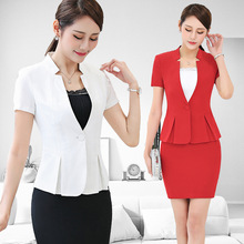 Women Short Sleeve Skirt Suits Sets Formal Blazer Work Office Lady Business Outwear Tops Casual Career Black White Red Jacket