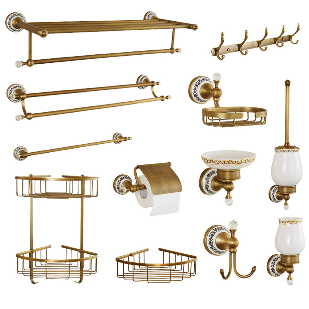 Ceramic Bathroom Products Round Base Brushed Accessories Set Antique Brass Bath Hardware Sets wall mounted anqtiue bathroom set