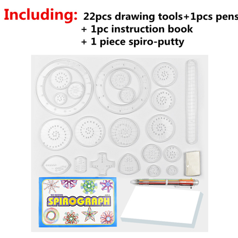 Drawing Toys Set Multi-function Educational Learning Tools Gears Spirograph Geometric Ruler Painting Drawing for Kids Adult HH24