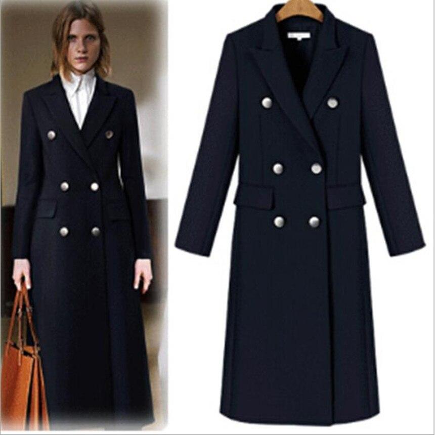 Women Blazer formal v neck Jackets Double Breasted Blazer Long Coats Vintage Women 2018 Autumn office Lady