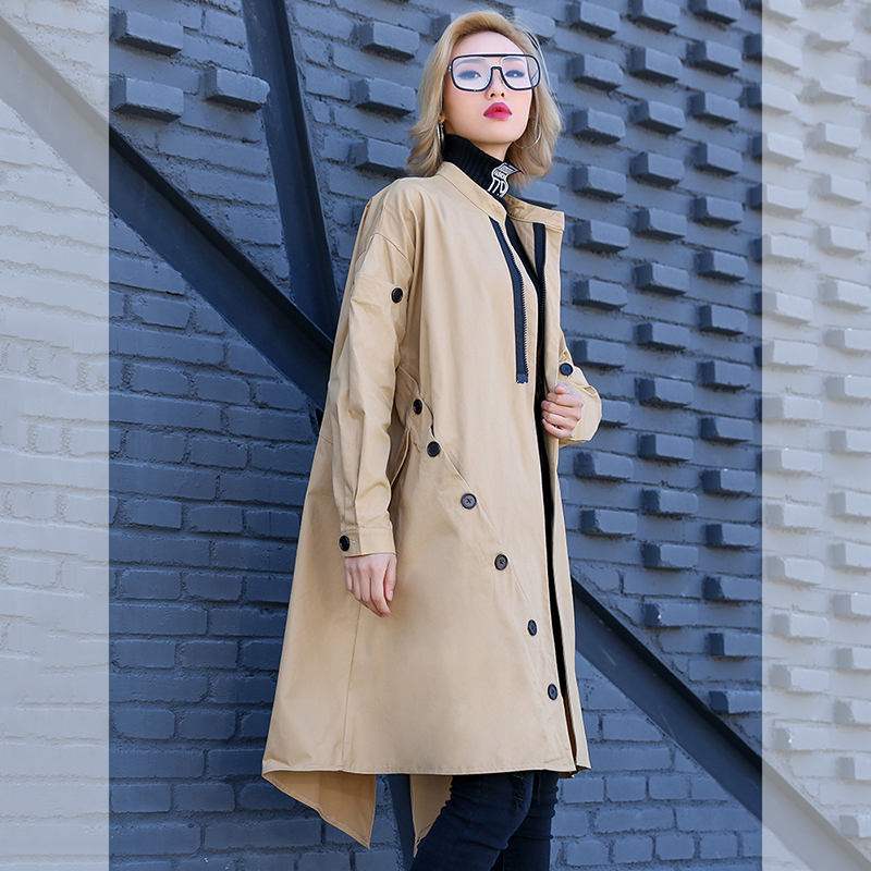 Fashion Irregular   Trench   Coat Women Large Size Loose Casual Windbreaker 2019 New Arrival Chic Button Design Spring Long Coats