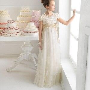 Новое Элегантное белое кружевное платье с цветами для девочек на свадьбу, бальное платье с длинными рукавами для девочек, платье для причас...