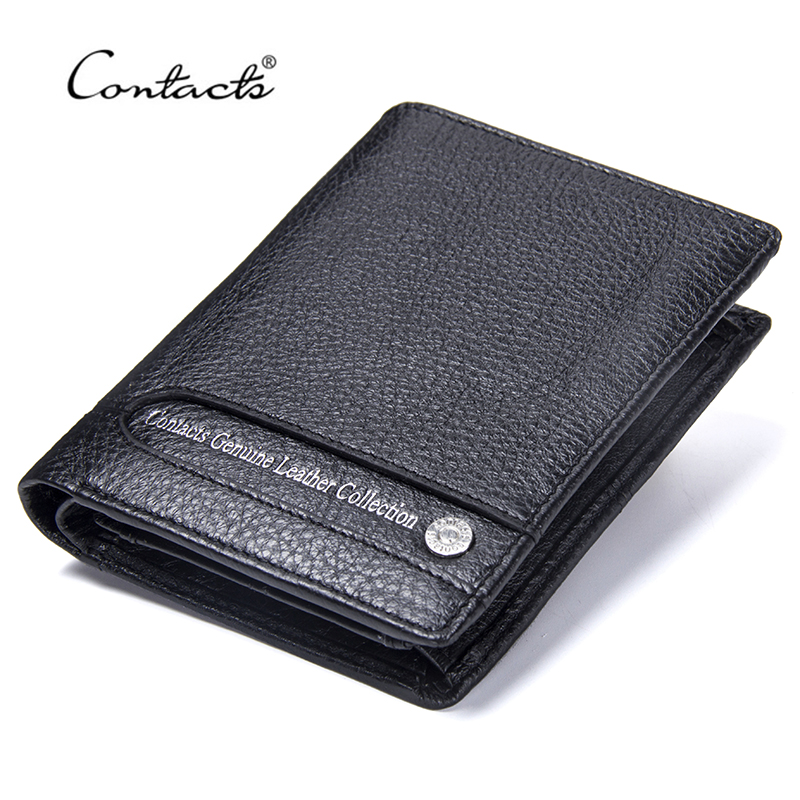 CONTACT'S Genuine Leather Men Wallets Short Male Photo Holder Coin Purse Multifunctional Wallet With Card Holder High Capacity