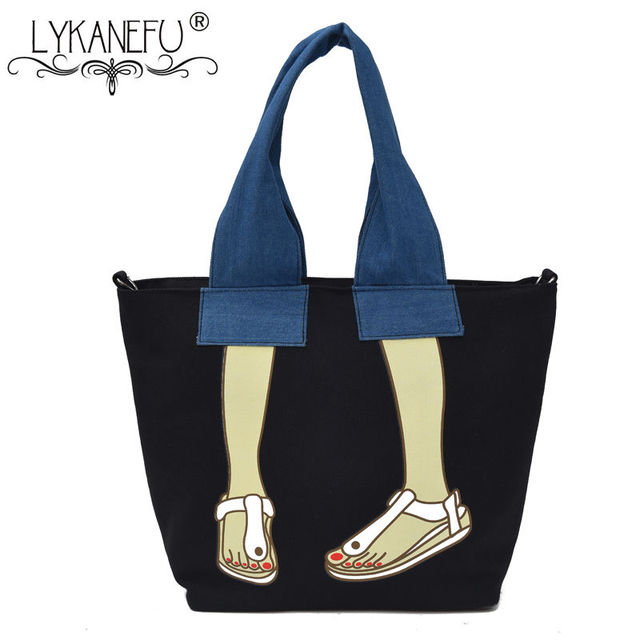 LYKANEFU Casual Women Bag Canvas Handbags Female Hobo Shoulder Bags Soft Tote Purse Shopping Handbag Large Capacity Bolsa