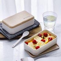 Caixa de almoço dupla camada 2 grade bento caixas recipiente comida japonês portátil microwavable para crianças escritório