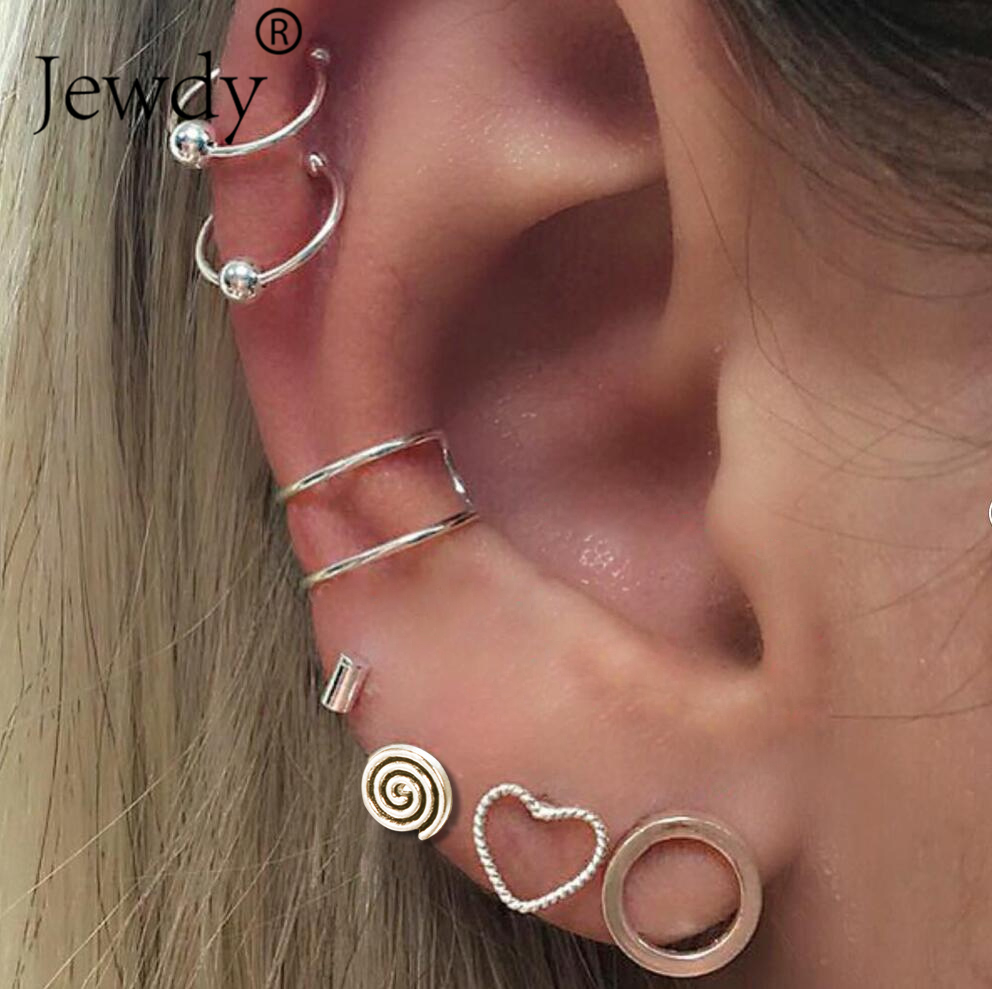 7PCS/Set Spiral Heart Earrings Set for Women Round Circle Simple Style Pattern Ancient Silver Stud Earring Girl Bohemian Jewelry