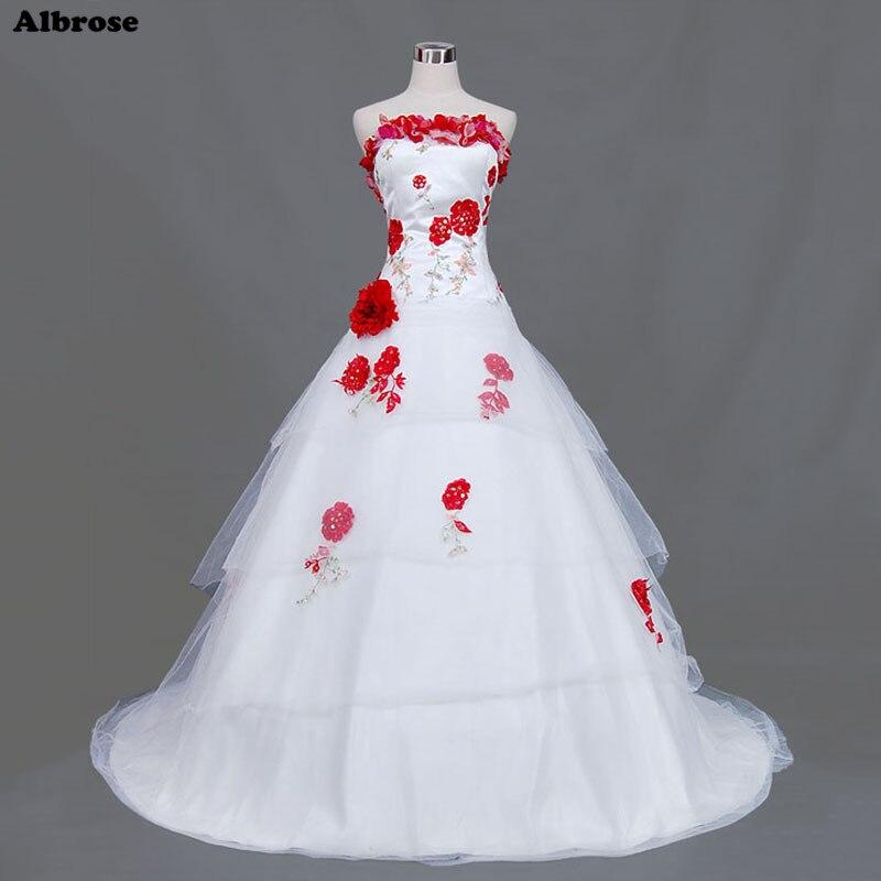 White Wedding Dress With Black Flowers: Sexy Strapless White Wedding Dress Colorful Embroidery