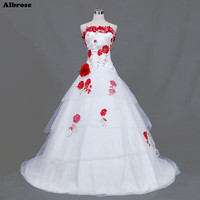 Sexy Strapless White Wedding Dress Colorful Embroidery Flowers Wedding Dresses Sequined Beaded Bridal Gowns Vestidos De
