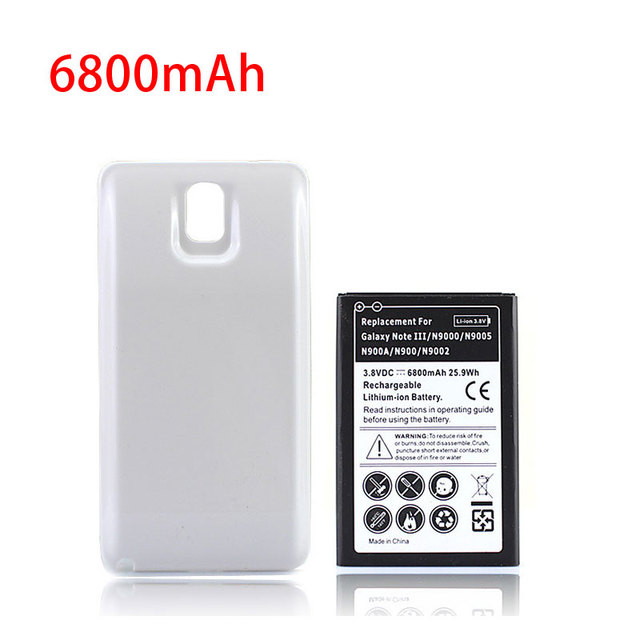 competitive price 209fa 636d1 US $9.41 24% OFF|6800mAh Phone Extended Battery For Samsung Galaxy Note 3  White Back Cover Door Case Smartphone batteria N9000 N9005 N900A N9002-in  ...