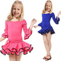 School Class Latin Dance Dress For Girls Long Sleeve Kids Cha Cha/Rumba/Samba Dance Wear Practice/Performance Dress For Dancing