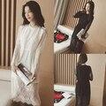 Primavera 2016 de corea del sur moda delgado delgado de manga larga de encaje de manga larga vestido femenino estudiante dulce