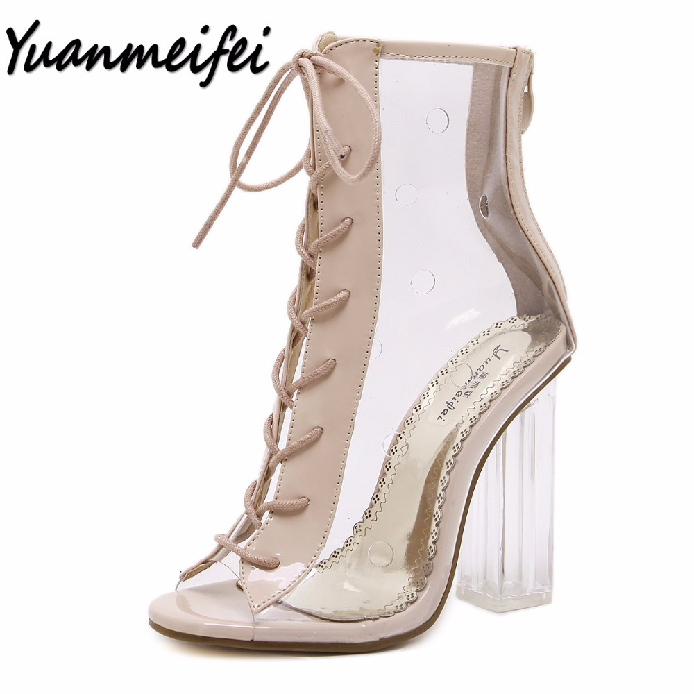 Yuanmeifei summer Peep Toe ankle sandals boots Transparent Cross tied crystal square heels women s high