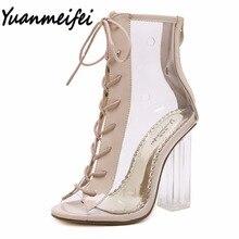 Yuanmeifei verano Peep Toe tobillo botas sandalias Transparentes-atado Cruz de cristal cuadrado tacones altos talones de las mujeres zapatos de mujer bombas