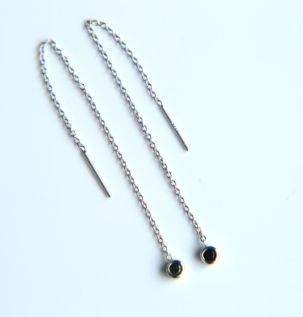 Round Black Crystal Pendant Dangle Chain Earrings Long Drop Women Cz Charm Earring Piercing