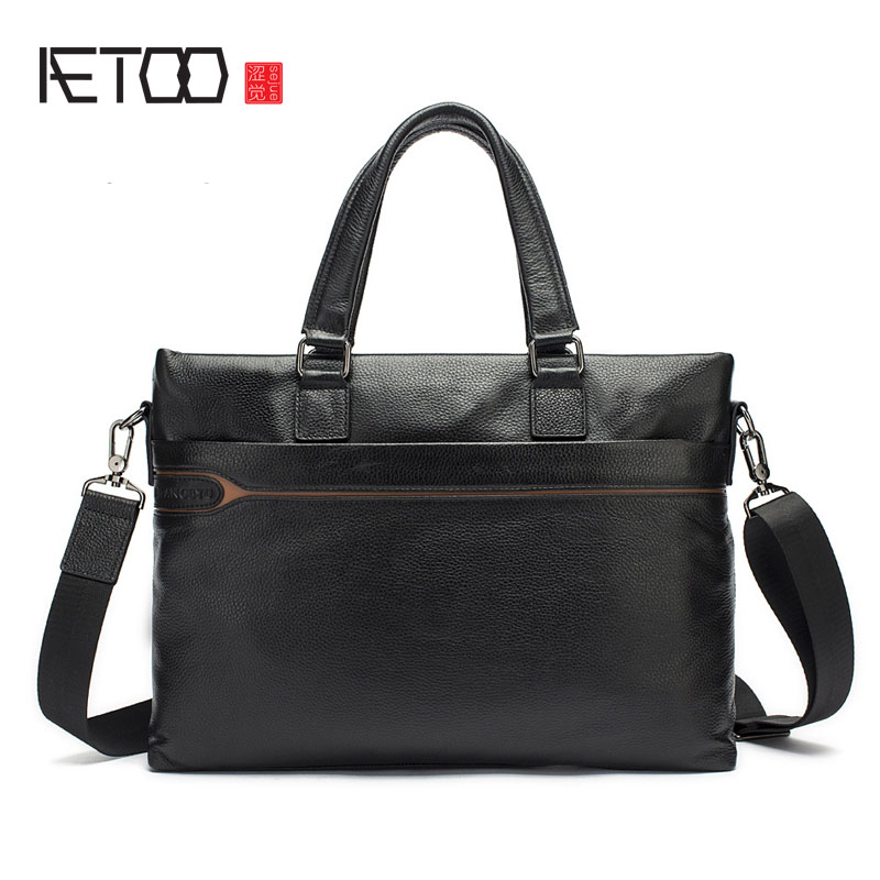 AETOO Briefcase Europe and the United States men handbag horizontal zipper Messenger bag leather men bag aetoo europe and the united states fashion new men s leather briefcase casual business mad horse leather handbags shoulder