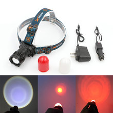 Aluminum T6 LED Headlamp Headlight Rechargeable Head Light Built in Battery With AC/Car Charger Camping Head Torch Lanternas