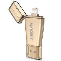 EAGET I50 For iPhone OTG USB 3.0 플래시 드라이브 128GB 64GB 32GB 용량 확장 For iPhone/iPad/iPod  PC/MAC 용 마이크로 펜 드라이브