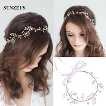 Золотая свадебная цепочка для волос, кристаллы, ободок на голову с жемчугом, новинка,, свадебный пояс для головы, аксессуары для бракосочетания SQ312