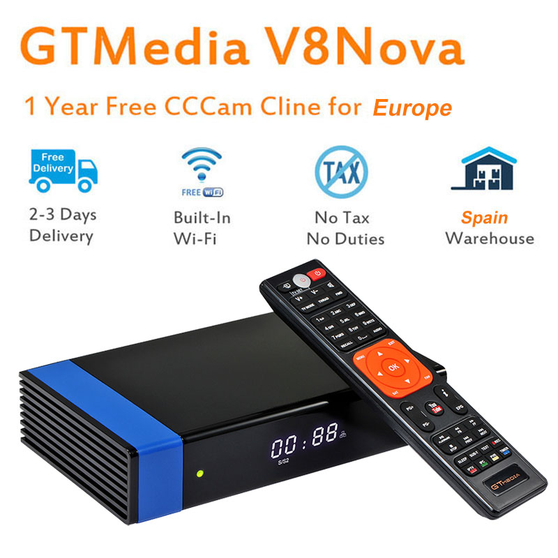 GTMedia V8 Nova Blue DVB S2 H 265 decoder satellite receiver 1 year CCcam 4 clines