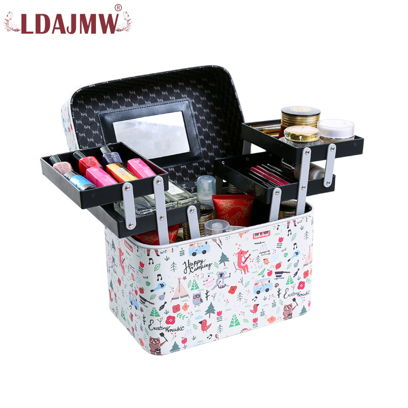 LDAJMW Large Capacity Professional Makeup Organizer Fashion Cosmetic Bag Multilayer Storage Box Portable Lovely Suitcase professional cosmetic bag portable large capacity manicure beauty storage box cosmetic case waterproof lovely the new travel