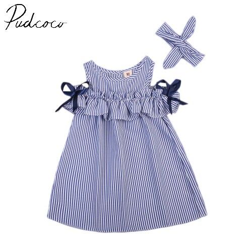 Платье в полоску для маленьких девочек, милое мини-платье принцессы с вышивкой и открытыми плечами для вечеринок и От 1 до 5 лет