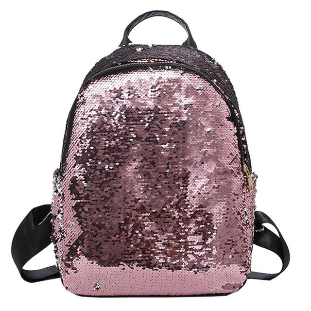 Fashion Sequins Women Leather Shiny Backpack Bling Female Mochila Girls  School Bags Shine Shoulder Bag Paillette Bookbag  P 8121a5a24c3e1