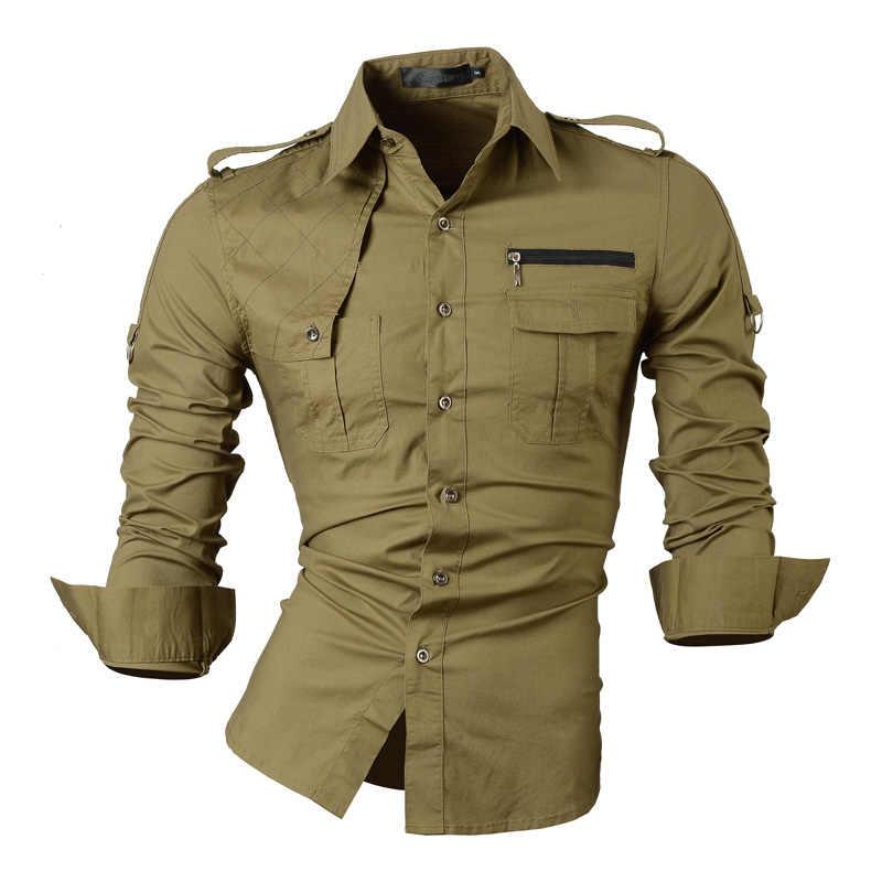 Jeansian Pria Lengan Panjang Gaun Kasual Kemeja Slim Fit Fashion Desainer Militer 8371