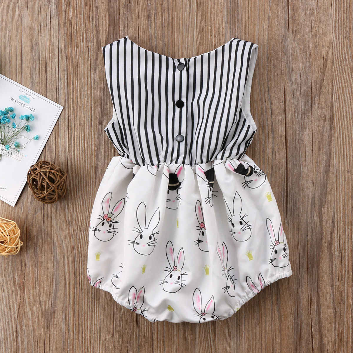 17e5a99d3913 ... 2018 Happy Easter Toddler Baby Girls Bowknot Jumpsuit Bodysuit  Sleeveless Bow Striped Clothes Summer Bunny Rubbit ...