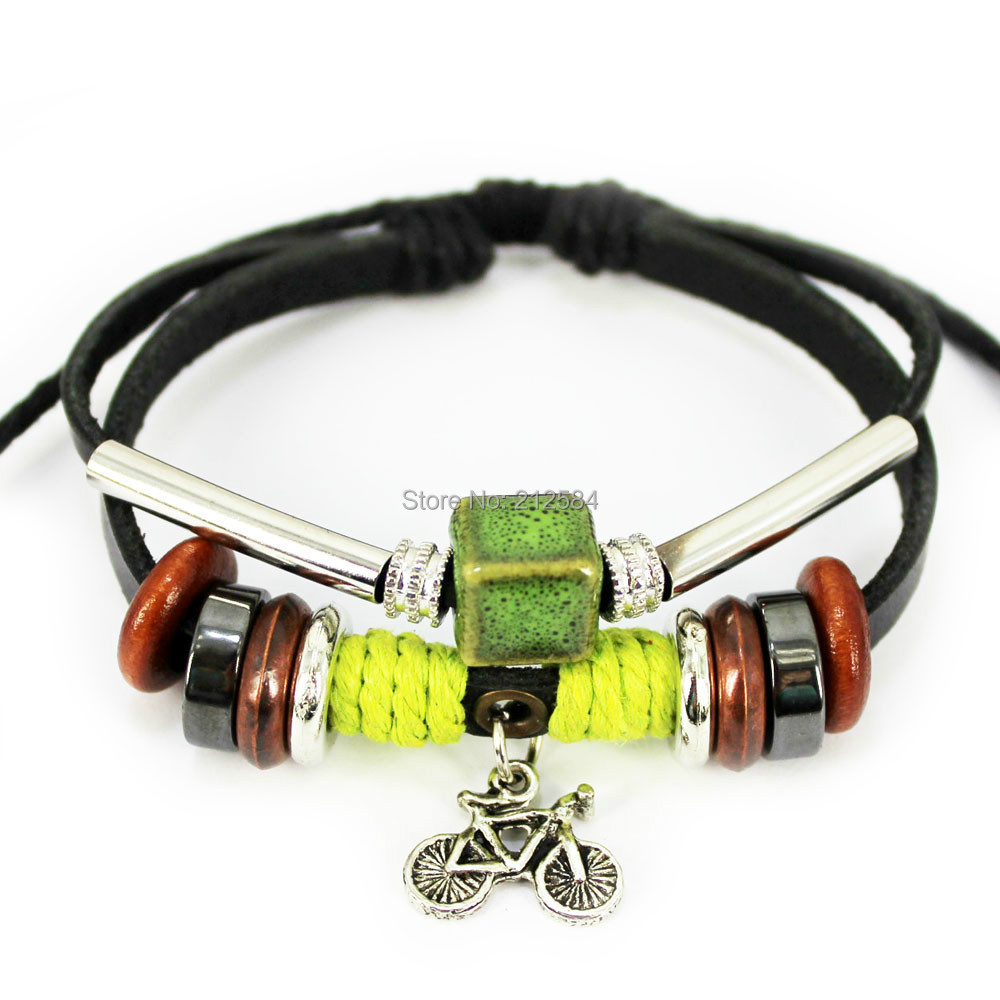 L319 Bicycle Handmade Ethnic Surfer Hemp Multi Wrap Leather Bracelet  Woman's Wan's Charm Bracelets Wristband Cuff