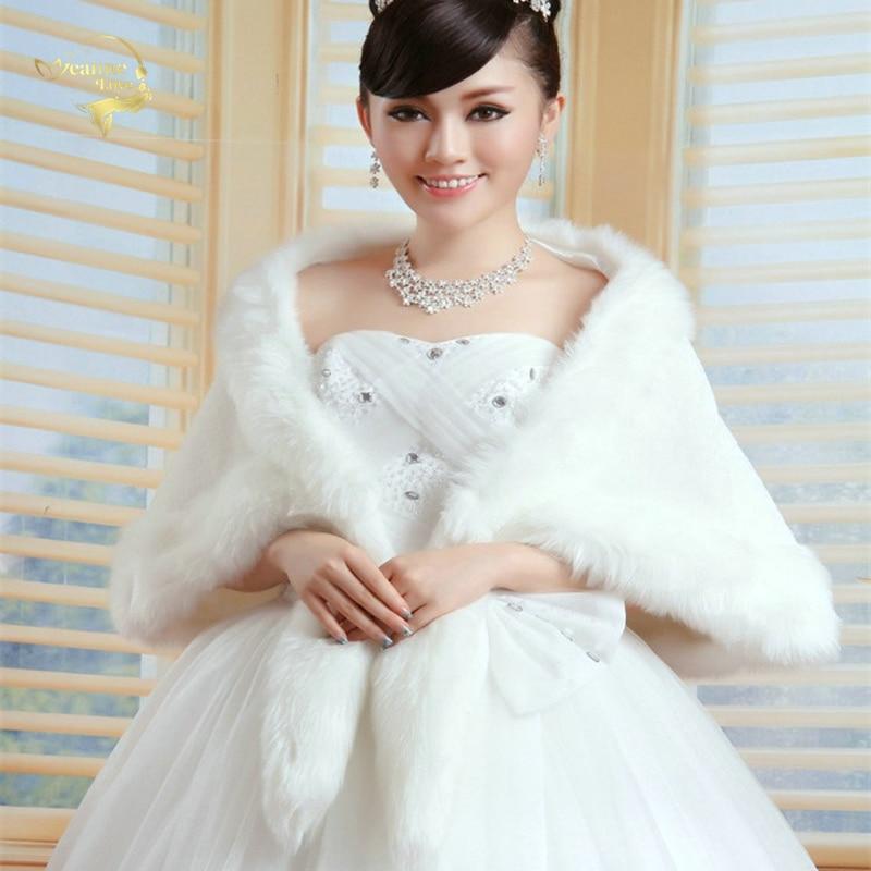 New Women Bridal Shawl Fur Faux Fur Wrap Elegant Warm Bolero Fox Tail Wedding Wrap Bridal Jacket Coat Winter Fur Cape OJ00189