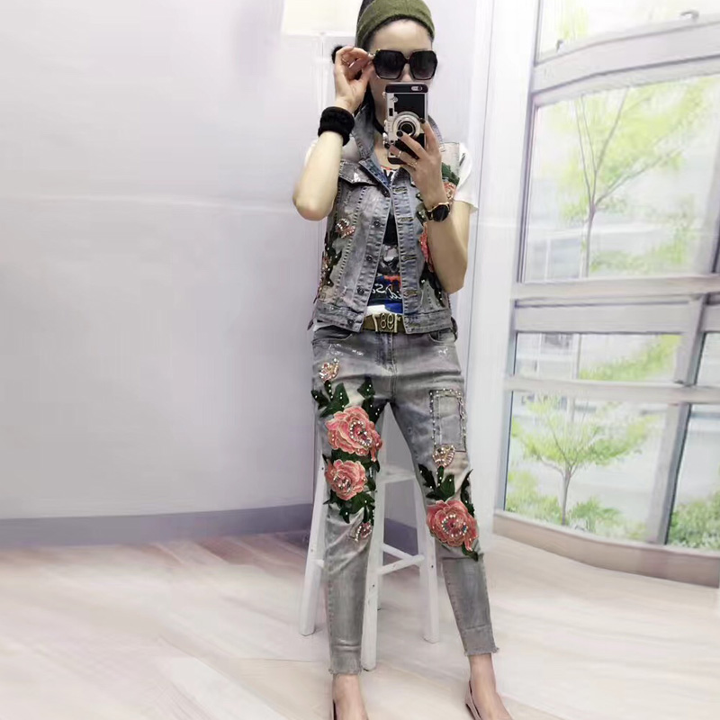Women Fashion 3D Flower Stretch Jeans Casual Slim Skinny Pencil Pants Denim Beading Elastic Trousers Jeans  C036 new men flower print skinny jeans fashion denim pencil trousers 0931