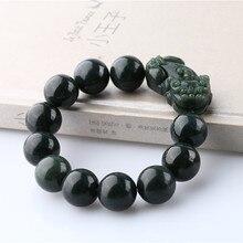 Dark Green 100% Natural Hetian Jade Bracelet Carving PIXIU Round Beads Women Mens Gift Bracelets Nephrite Qing Jades Jewelry