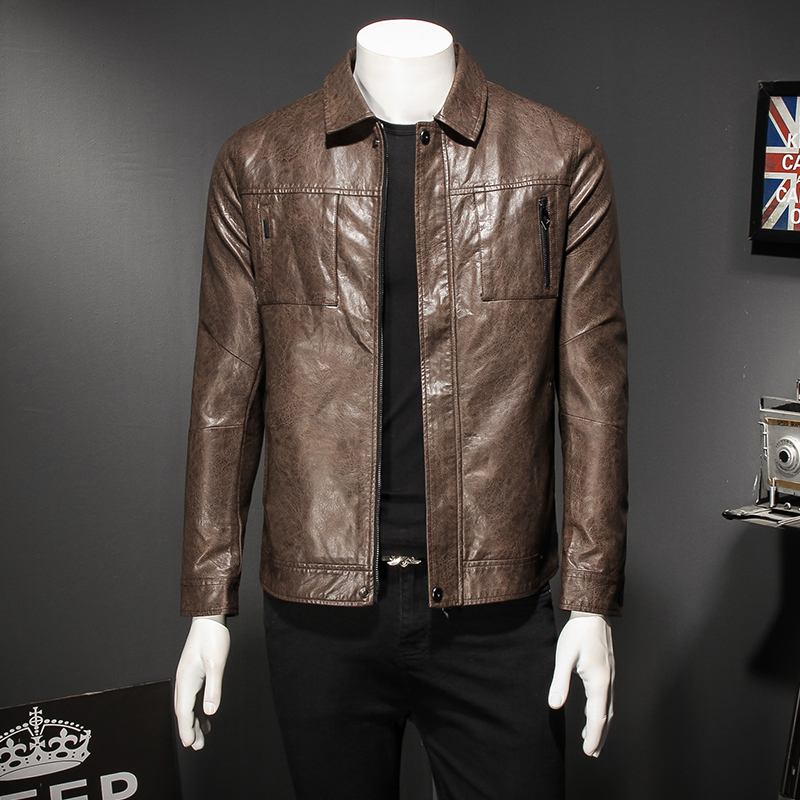 Independent Mens Motorcycle Leather Coat Khaki 2019 Autumn Leather Jacket Turn-down Collar Smart Casual Zipper Clothing Coffee 8926 Online Shop Back To Search Resultsmen's Clothing Jackets & Coats
