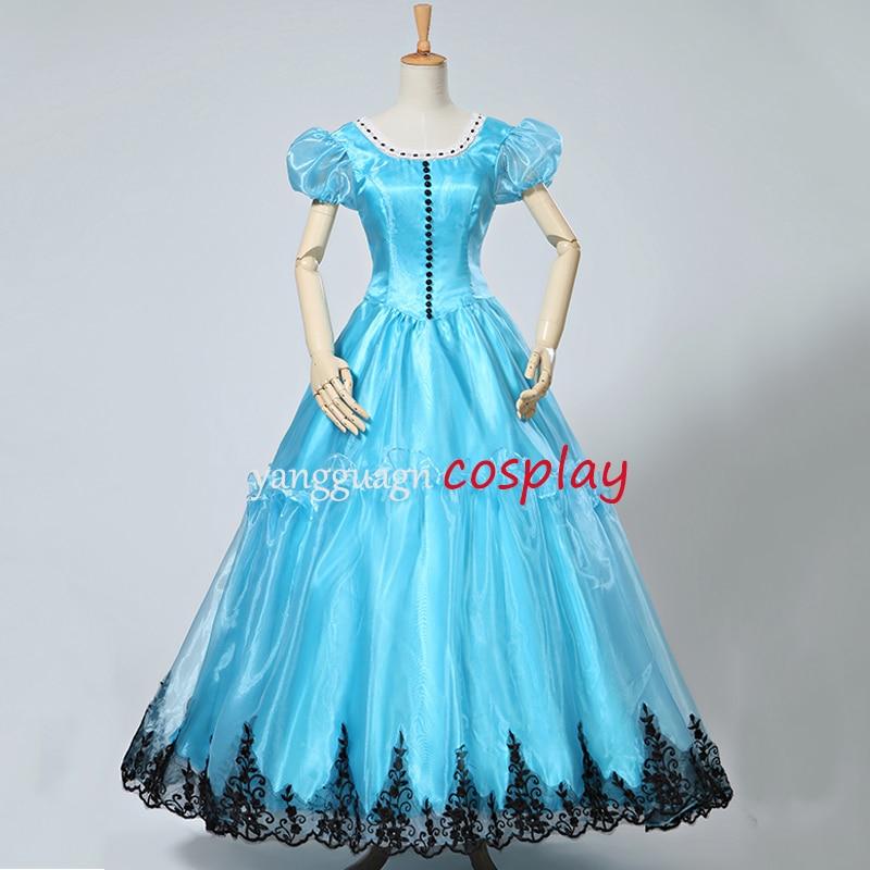 Tim Burton's Alice Blue Dress costume adult for Alice In Wonderland Cosplay costume custom made
