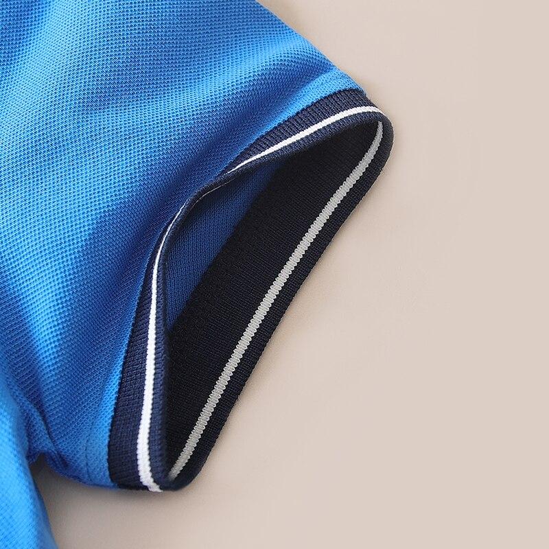 2017 New Summer Boys short sleeveshirts Cotton Kids Tops Sports Fashion V-neck Collar Boys Polo Shirts 3-14Y Children Clothing