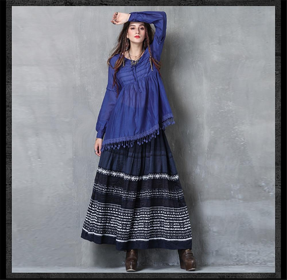 Vintage Women Slik Tassel Blouse 2019 Autumn Silk Women's Blouse Shirts Cotton Pullover Blouses Solid Dark Blue Top B9225 (11)