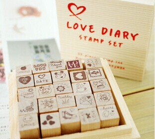 Wholesale Lovely Wooden Box DIY LOVE Diary Stamp, Creative Funny Decoration Stamp set Childen Gift (5sets)
